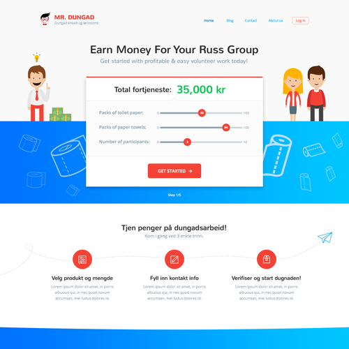 Startup website with the title 'Page concept for Norwegian startup'