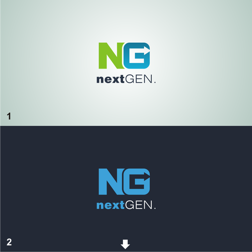 Green and blue design with the title 'Next Gen Logo'