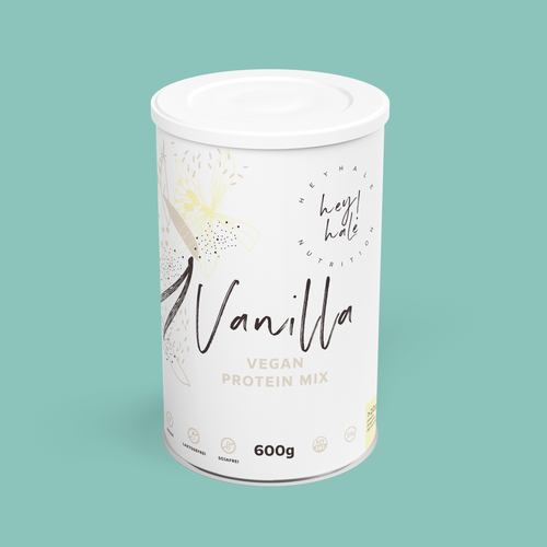 Protein packaging with the title 'Heyhale Nutrition - Vanilla protein mix'