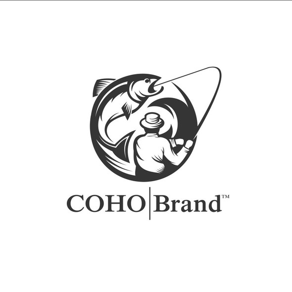 Fisherman logo with the title 'Coho Brand'