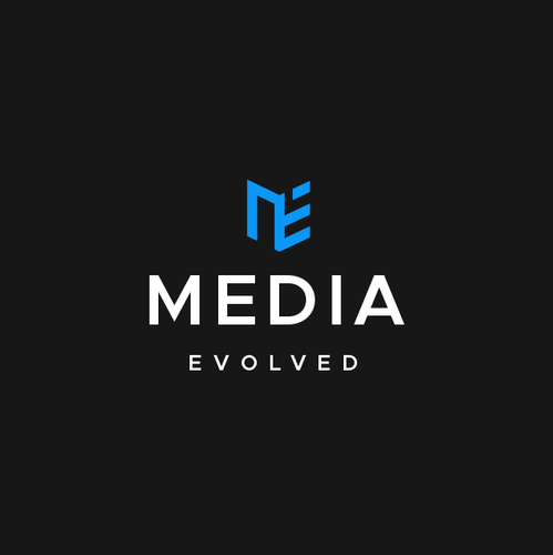 Black logo with the title 'MEDIA EVOLVED'