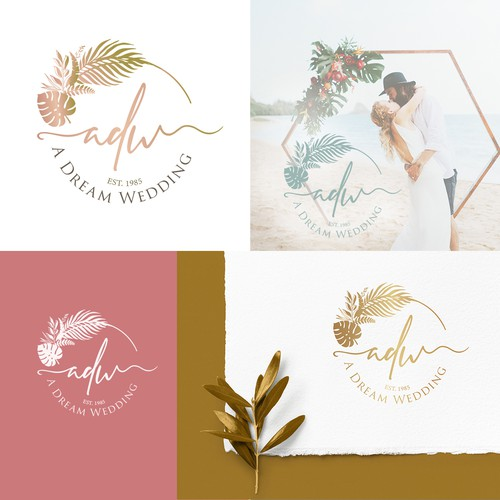 Foliage design with the title 'A Dream Wedding'