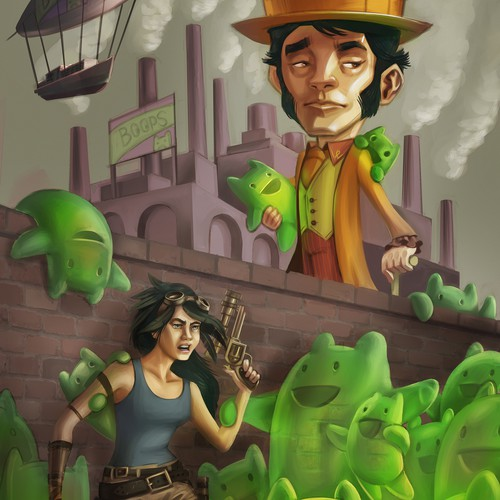 Painting artwork with the title 'Steampunk Fantasy Book Cover Illustration'