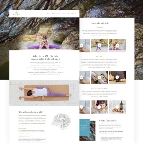 Video website with the title '1-1 Project for Pure Scents Yoga - 'Work' page'