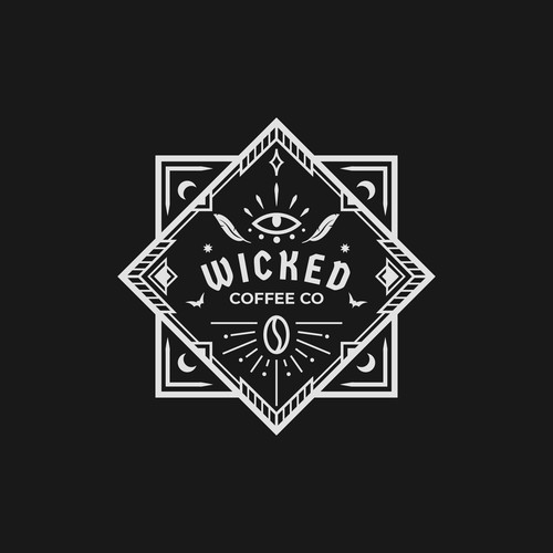 Bat logo with the title 'wicked coffee'