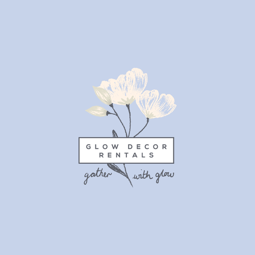 Floral logo with the title 'Glow Decor Rentals'