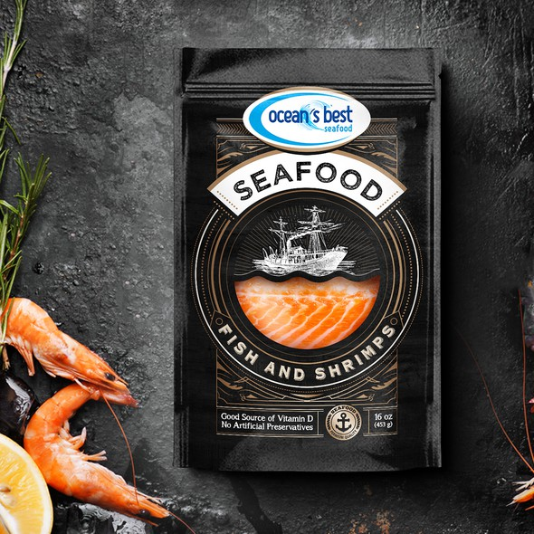 Salmon design with the title 'Ocean's best seafood'
