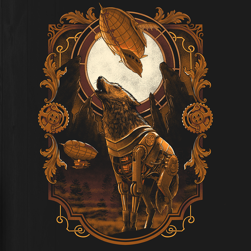 Steampunk design with the title 'STEAMPUNK WOLF'