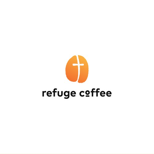 Bean design with the title 'Refuge Coffee Logo'