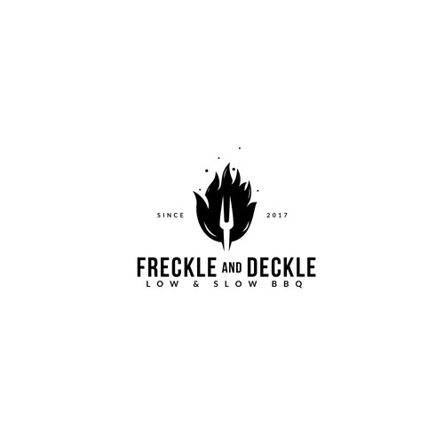 """Fork logo with the title 'Logo design for  """"Freckle and Deckle""""'"""