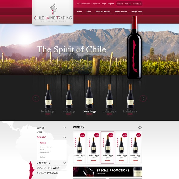 Wine website with the title 'Cooles Website design für ChileWineTrading'