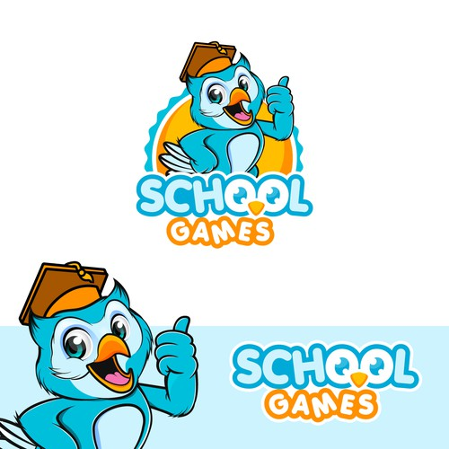 Creative design logo with the title 'Friendly Mascot for School Games'