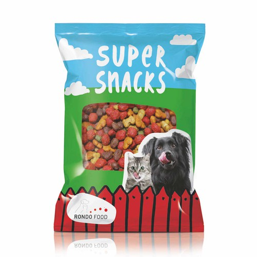 Pet food packaging with the title 'Pet Snacks'