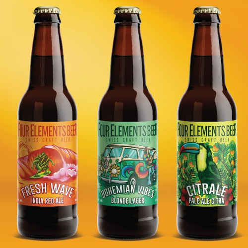 Beer design with the title 'four elements beer label'