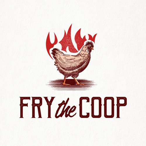 Chicken logo with the title 'Fry the Coop'