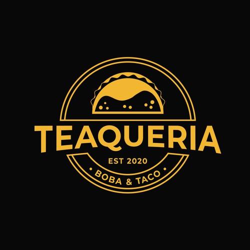 Bubble tea design with the title 'Teaqueria'