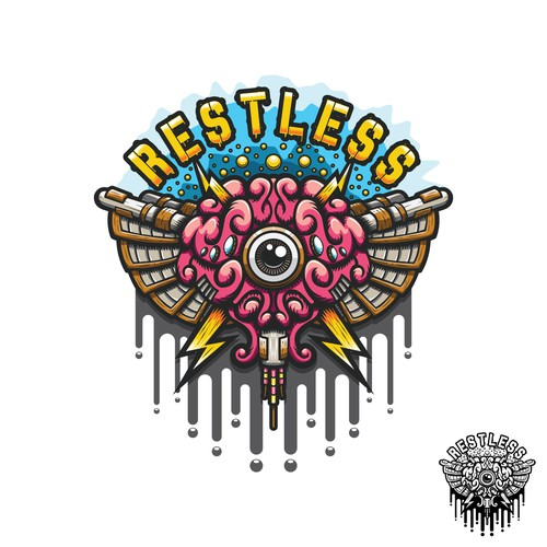 Graffiti illustration with the title 'Restless energetic brain illustration'