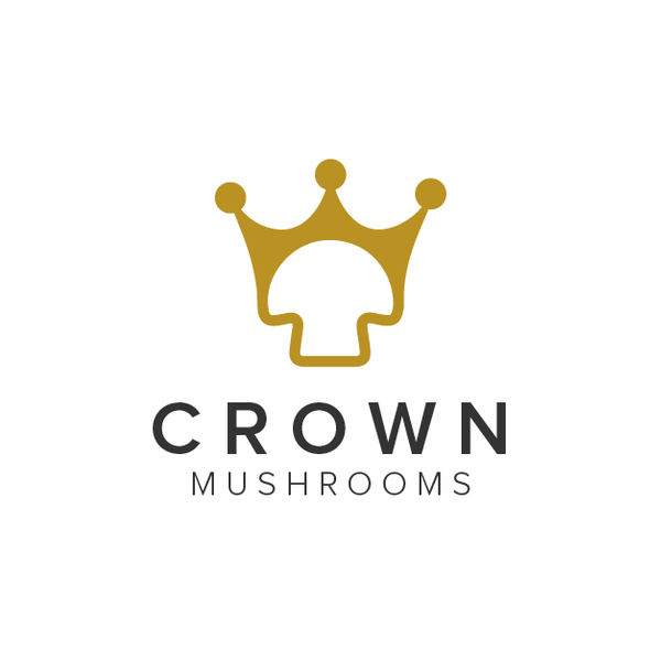 Gold crown logo with the title 'Crown Mushrooms'