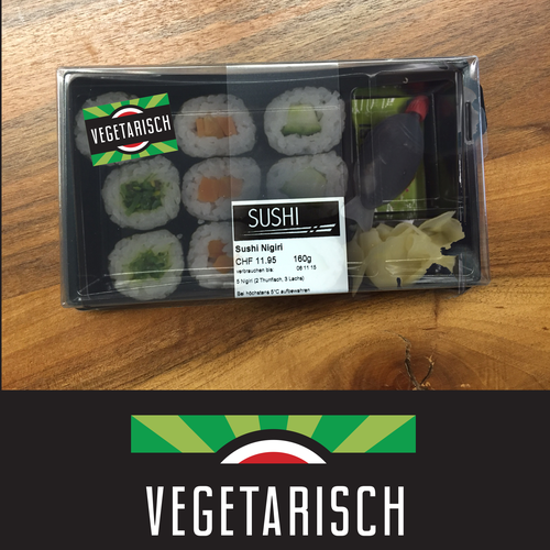 Sticker label with the title 'Sushi Sticker Design'