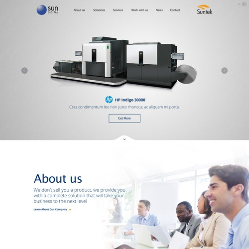Parallax website with the title 'Creation of Home page for Sun Digital'