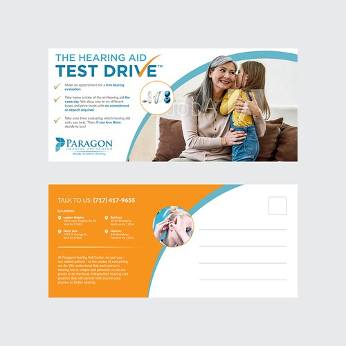 Clinic design with the title 'Hearing Aid Test Drive'