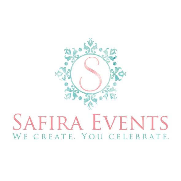 Celebration logo with the title 'watercolor effect wedding planner'