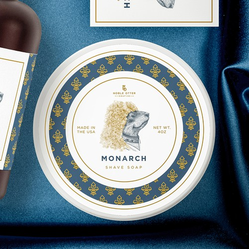 Elegant label with the title 'Monarch Line of products for Noble Otter'