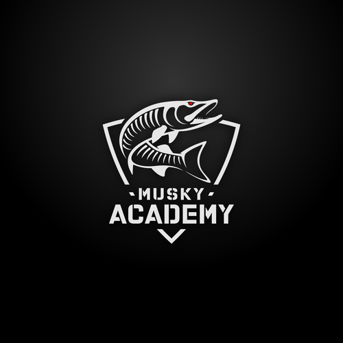 Logo with the title 'Northwoods Musky Fishing Academy'