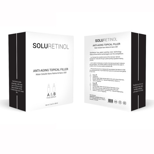 Black and white packaging with the title 'product package'