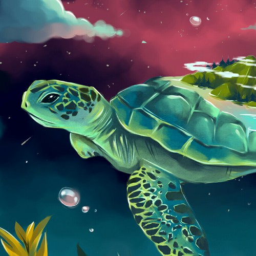 Turtle artwork with the title 'Happy Turtle Day'