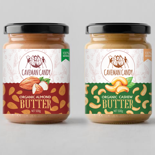 Almond design with the title 'But butter labels design'
