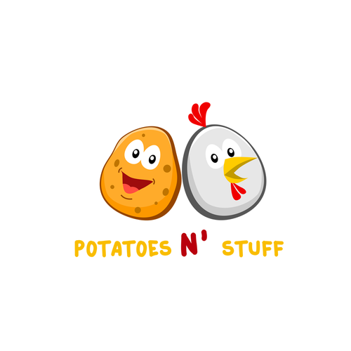 Potato logo with the title 'Logo for Potatoes N' Stuff'