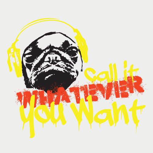 Pug logo with the title 'Logo created for contest Call It Whatever You Want'