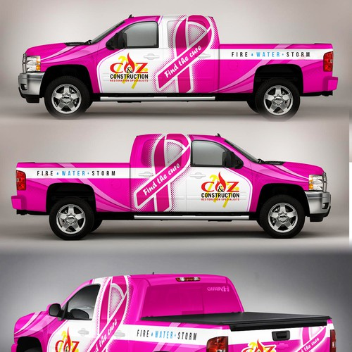 Vinyl wrap design with the title 'Construction truck wrap'
