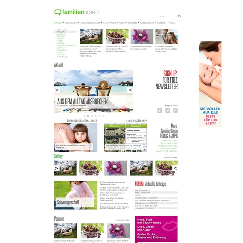 Magazine website with the title 'Family magazine style simple website'