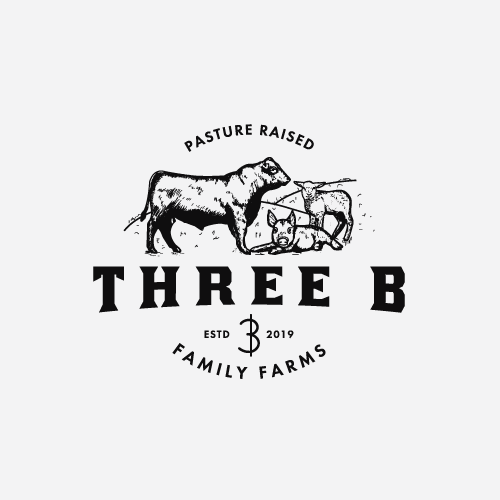 Cattle design with the title 'Hand drawn farm logo concept'