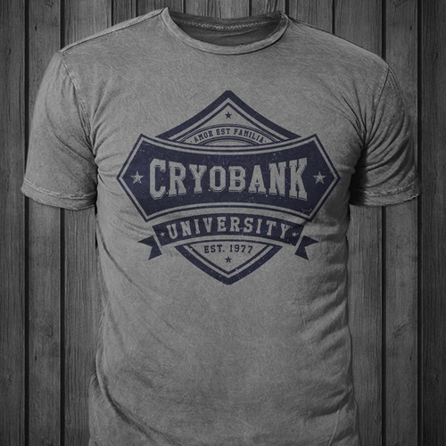 College design with the title 'T-shirt for Cryobank'