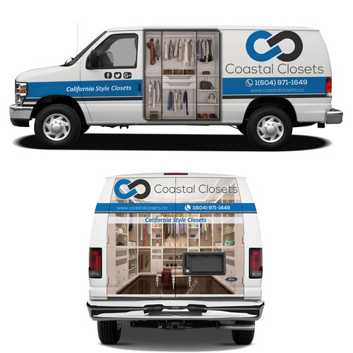 Closet design with the title 'Custom closet company looking for a van wrap design'