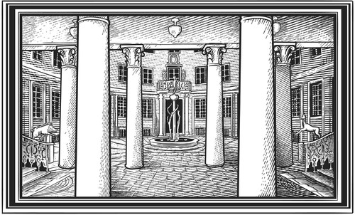 Etching design with the title 'Panoramic Engraving'