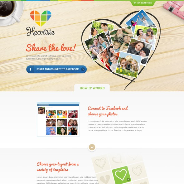 Vibrant website with the title 'My Heartsie Web Design'