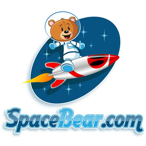 Animated illustration with the title 'Mascot wanted for SpaceBear.com'