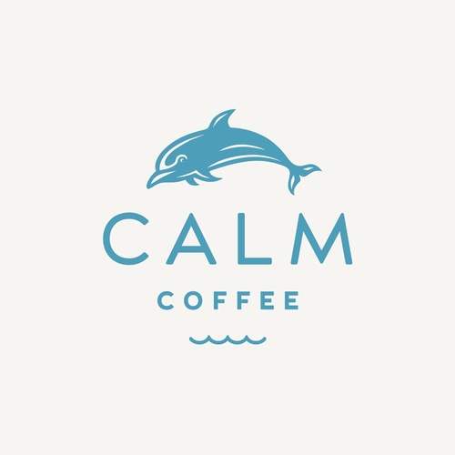 Dolphin design with the title 'Calm Coffee'