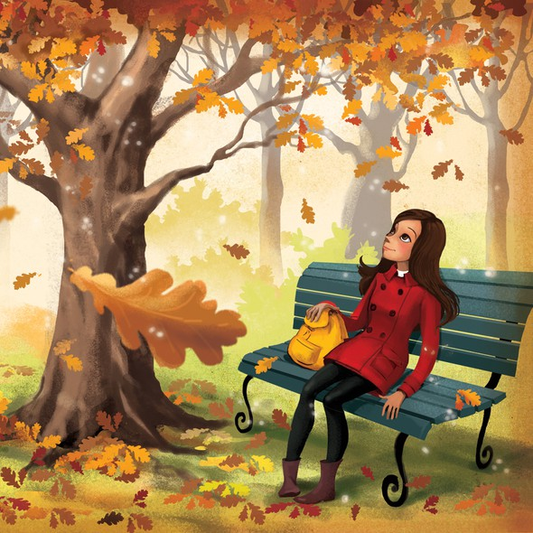 Bench design with the title 'autumn leaves illustration'
