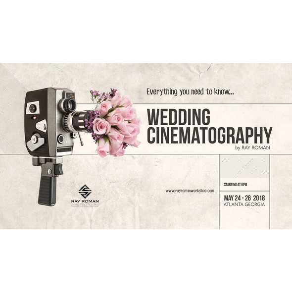 Wedding photography design with the title 'Poster for Wedding Cinematography Workshop'