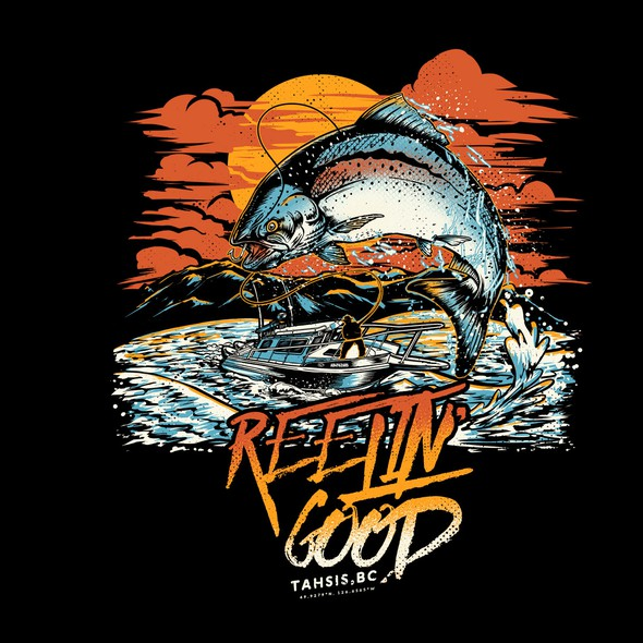 Boat t-shirt with the title 'Reelin' Good'