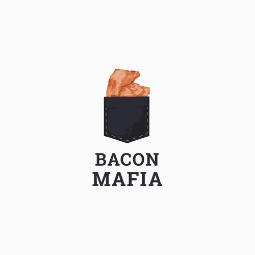 Bacon logo with the title 'Bacon Mafia Logo Design '