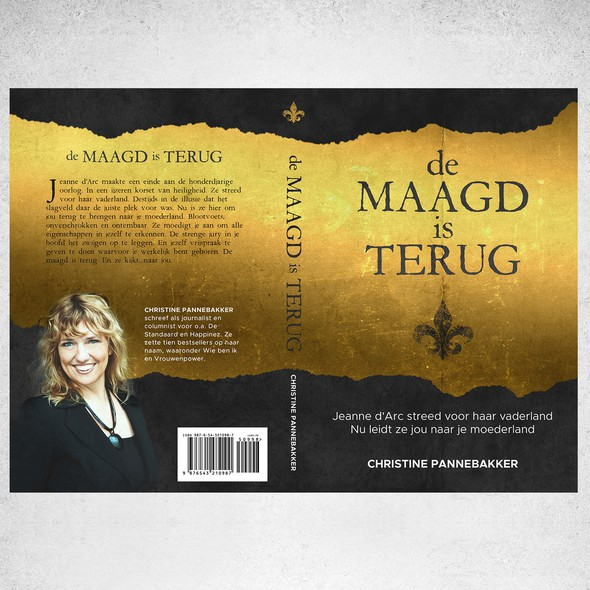 Medieval book cover with the title 'Book cover for de MAAGD is TERUG'