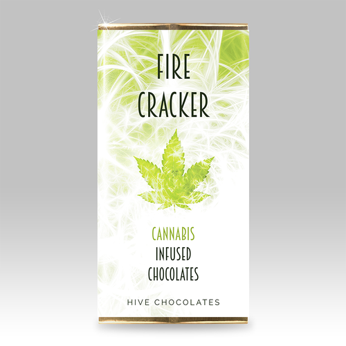 Abstract label with the title 'Cannabis Infused Chocolate Packaging'