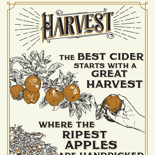 Harvest design with the title 'Poster for apple cider making process'