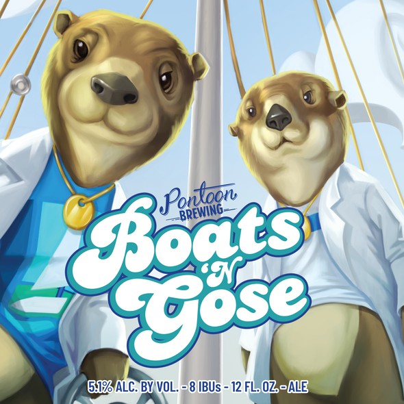 Anthropomorphic design with the title 'Boats and Gose beer label'